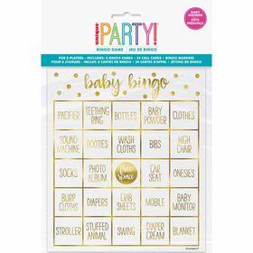 Kit De Bingo Pour 8 - Estampillé - Gold Baby Shower - Édition anglaise