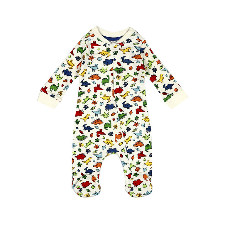 earth by art & eden - Cole Printed Zip Coverall - Whisper White Multi, 3 Months