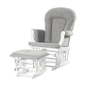 Chaise berçante et ottomane confortables Forever Eclectic de Child Craft, Blanc mat avec coussin gris clair.