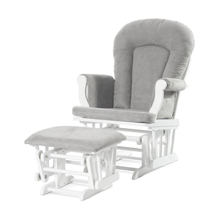 Chaise Bercante Et Ottomane Confortables Forever Eclectic De Child Craft Blanc Mat Avec Coussin Gris Clair Babies R Us Canada