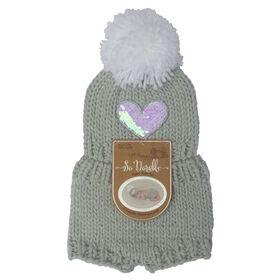 So Dorable 2-Piece Grey Revesible Sequin Heart Knit Set