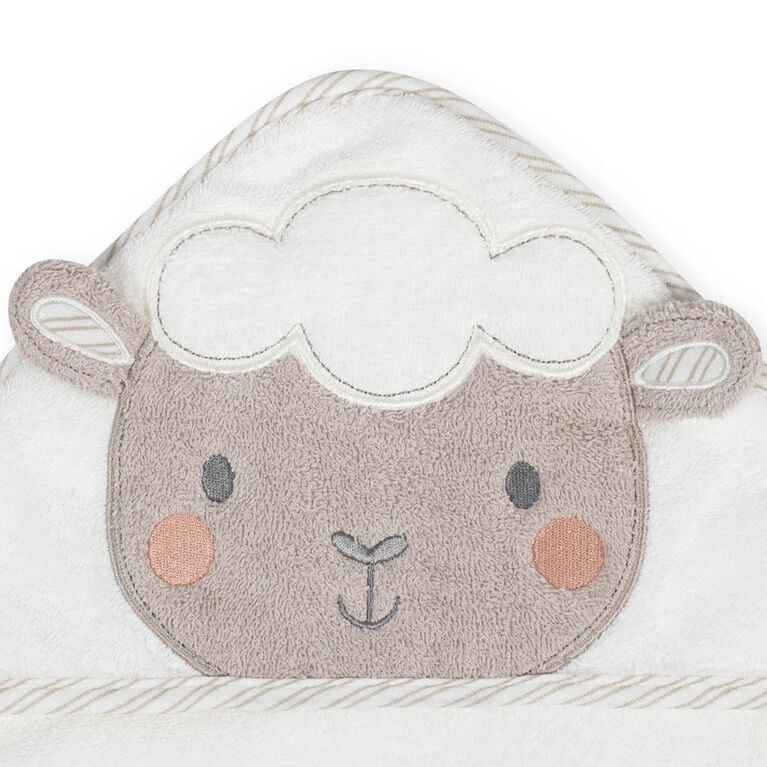 Koala Baby Woven Hooded Towel and Washcloth Set, Little Lamb