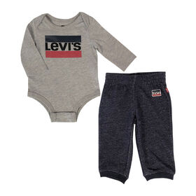 Levis Bodysuit Set - Grey Heather, 3 Months