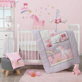 Ensemble de linge pour lit de bébé3 pièces Licorne arc-en-ciel Bedtime Originals.