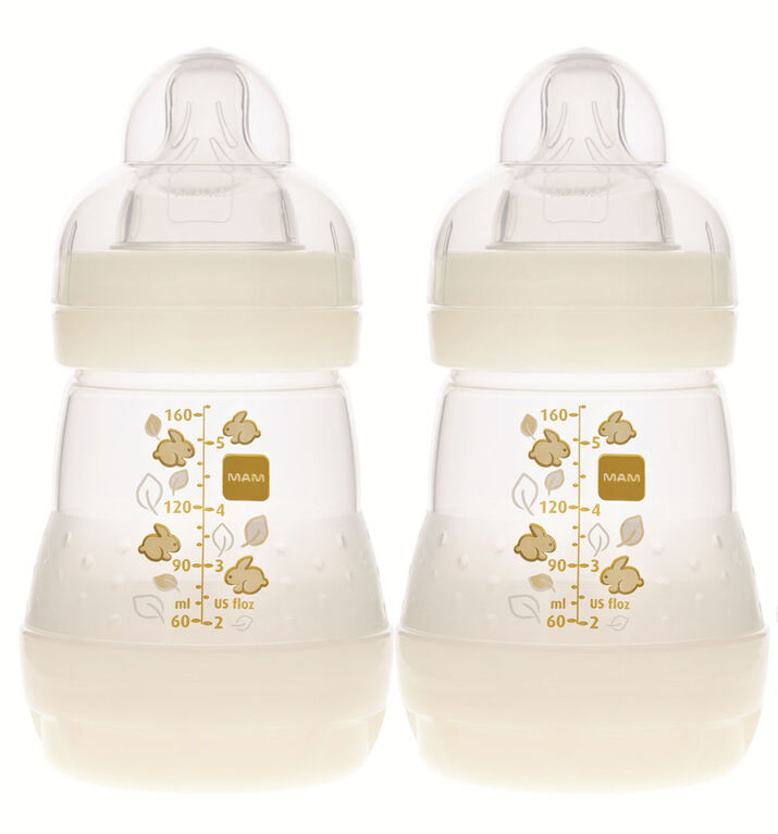 Mam Anti Colic Bottle-2 Pack 5oz - Cream White