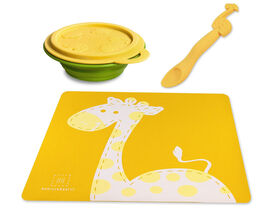 Marcus & Marcus Placemat & Collapsible Bowl & Feeding Spoon - Lola the Giraffe - Yellow.