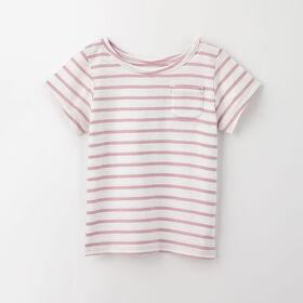 simple roll-sleeve pocket tee, 18-24m - light purple stripe