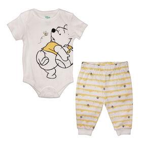 Disney Winnie the Pooh Cache couches et pantalon - jaune, 9 mois.