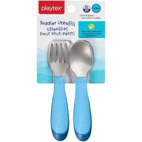 Playtex - Comfort Mealtime Fork & Spoon - Blue, Styles May Vary