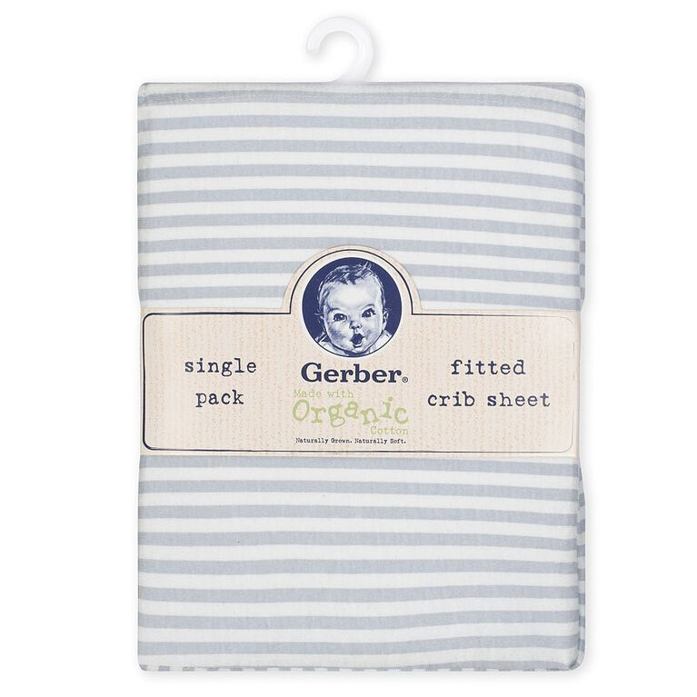 Gerber Organic Fitted Crib Sheet, Gray/Ivory Stripe