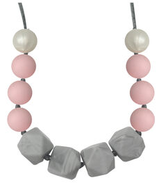 Collier de dentition à mâcher en rangée de perles de couleur vives Teething Happens d'Itzy Ritzy.
