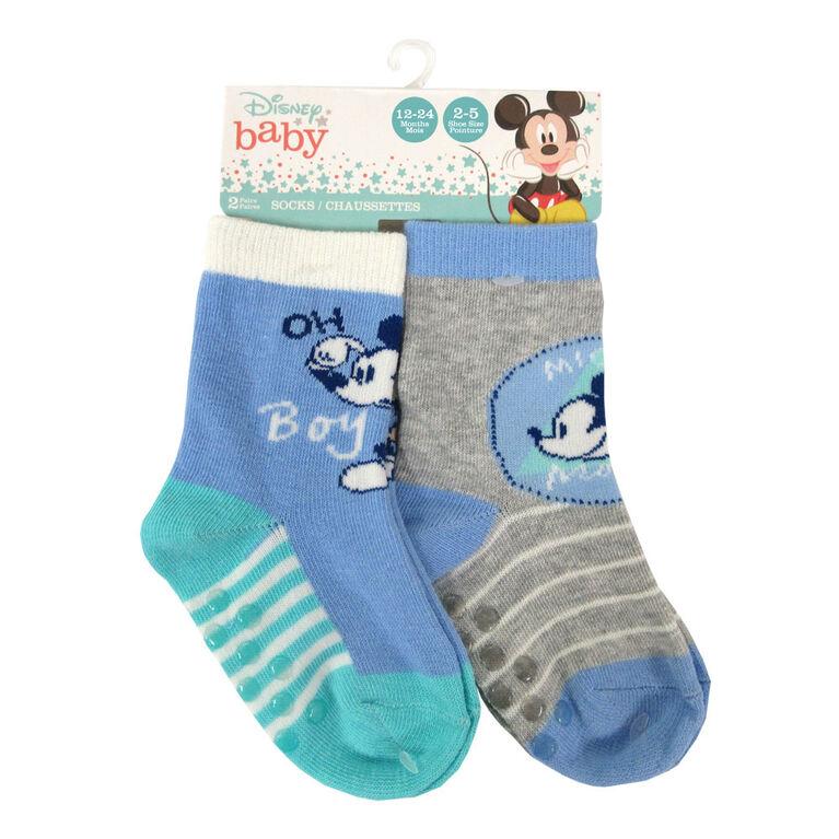 Disney - 2 Pack Crew Sock - Mickey, Blue, 12-24M