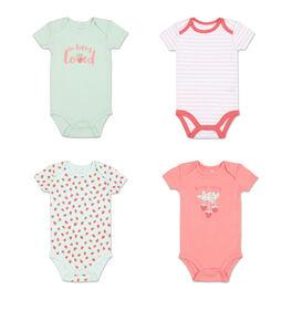 Koala Baby 4Pk Short Sleeved Bodysuit, G Strawberries, 3-6 Months
