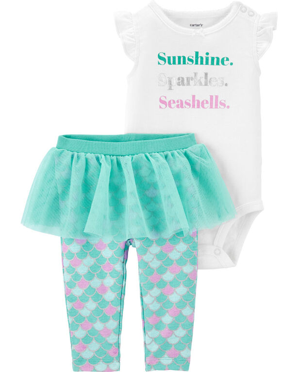 Carter's 2-Piece Mermaid Bodysuit & Tutu Pant Set - Turquoise/Ivory, 9 Months