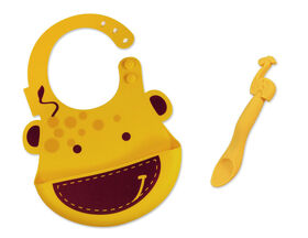 Marcus & Marcus Baby Bib & Feeding Spoon Set - Lola the Giraffe - Yellow.