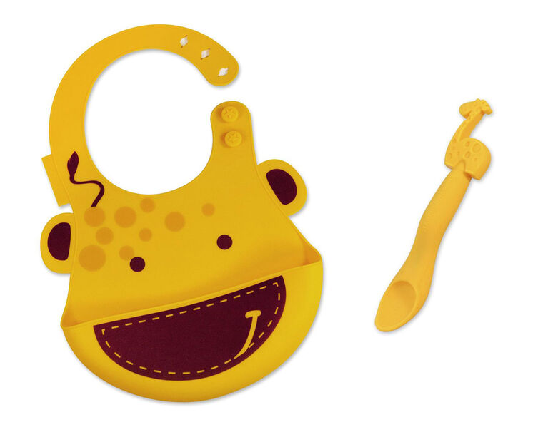 Marcus & Marcus Baby Bib & Feeding Spoon Set - Lola the Giraffe - Yellow