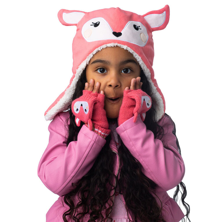 FlapJackKids - Baby, Toddler, Kids, Girls Reversible Sherpa Fleece Hat - Double Layered - Bunny/Deer - Large 4-6 years