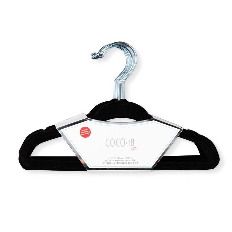 Coco-18 Black Regular Velvet Hanger 15 Pack