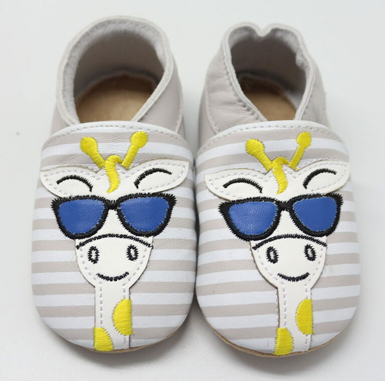 Tickle-toes White with Grey Stripes & Giraffe 100% Soft Leather Shoes 0-6 Months