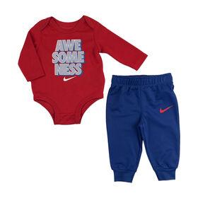Nike Ensemble cache couche et pantalon- Bleu, 0-3 nouveau née