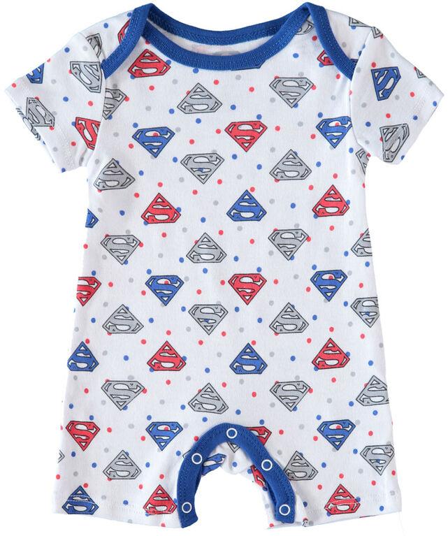 Superman Newborn Future Superhero 2 Pack Rompers 3-6M Blue