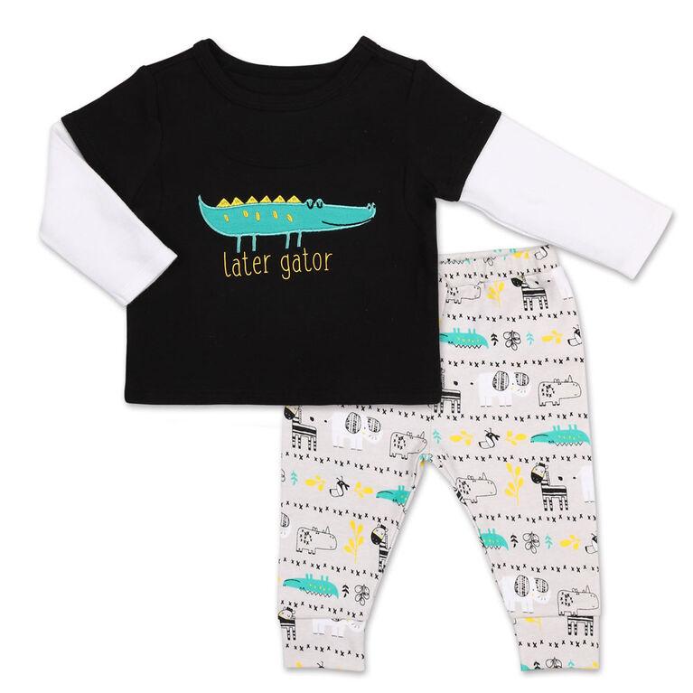 Ensemble 2pièces Koala Baby Safari Alligator - tee-shirt à manches longues et pantalon de sport imprimé, 0-3 Mois