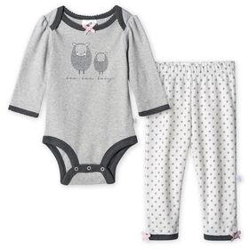 Lot de deux pièces: pantalon et maillot biologiques Onesies à manches longues pour nouveau-né fille – Petit Agneau 0-3 mois