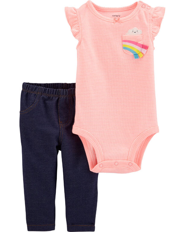 Carter's 2-Piece Rainbow Bodysuit Pant Set - Pink/Blue, 18 Months