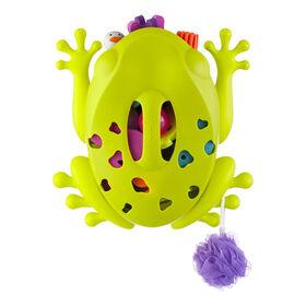 Conteneur Grenouille pour ramasser, égoutter et ranger les jouets de bain - vert.