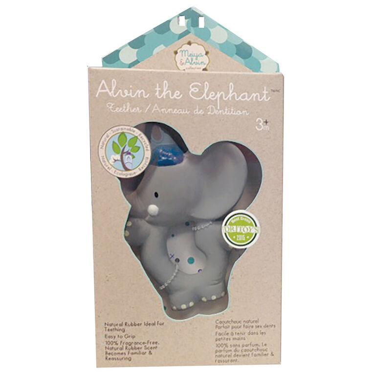 Meiya and Alvin - Alvin l'éléphant jouet de dentition avec tête en caoutchouc.