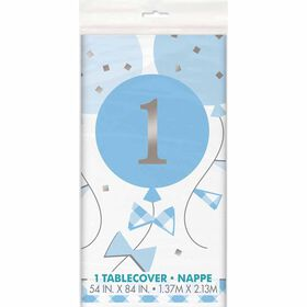 "BlueGingham 1stBday Table Cover 54""x84"""