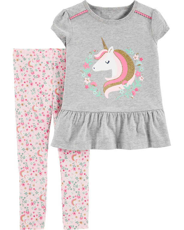 Carter's 2-Piece Unicorn Peplum Top & Floral Legging Set - Grey/Pink, Newborn