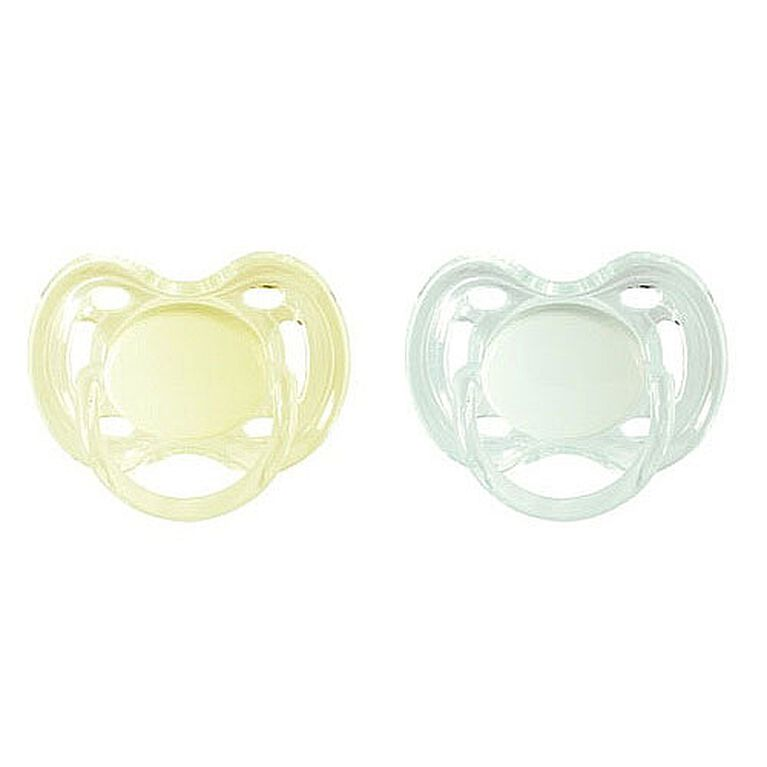 Philips AVENT - BPA Free Classic Pacifiers, 0-6 Months, 2-Pack, Yellow/White