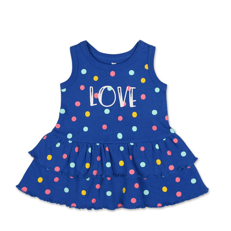 "Koala Baby Sleeveless Multi Polka Dots ""Love"" Ruffle Skirt Dress - 0-3 Months"