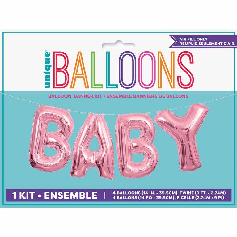 Ensemble Banniere De Ballons Rose Bebe - Édition anglaise