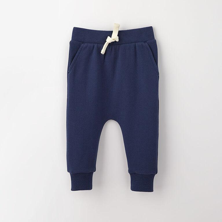 drop-crotch cozy sweats, 12-18m - dark blue