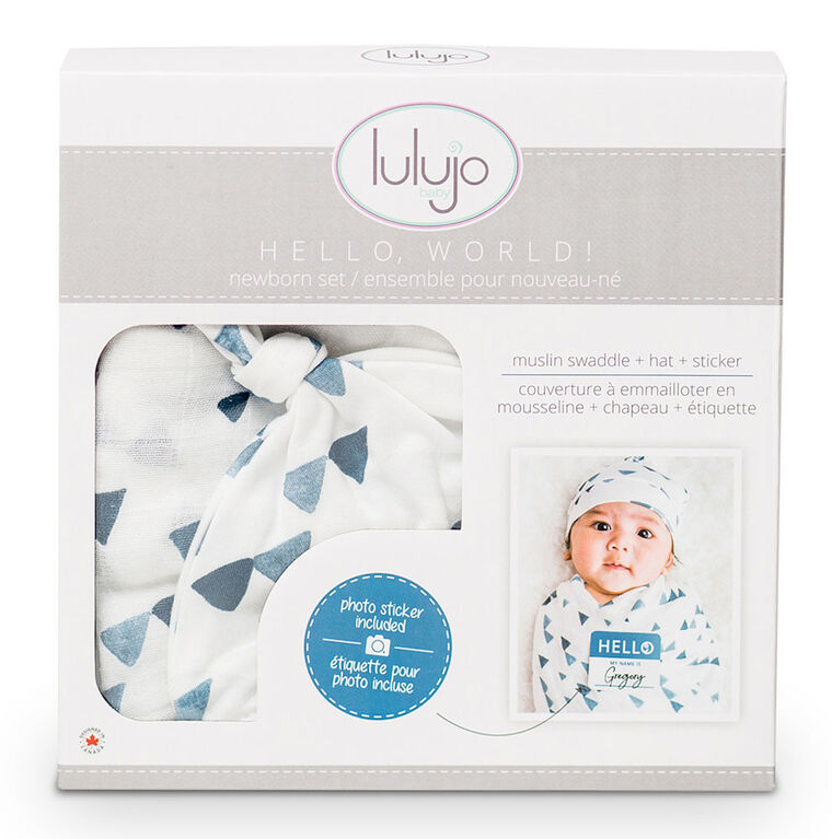 Lulujo Baby Hello World Newborn Bamboo Hat and Swaddle Blanket Set Navy Triangle