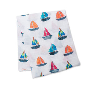 Lulujo - Sailboat Cotton Muslin Swaddling Blanket