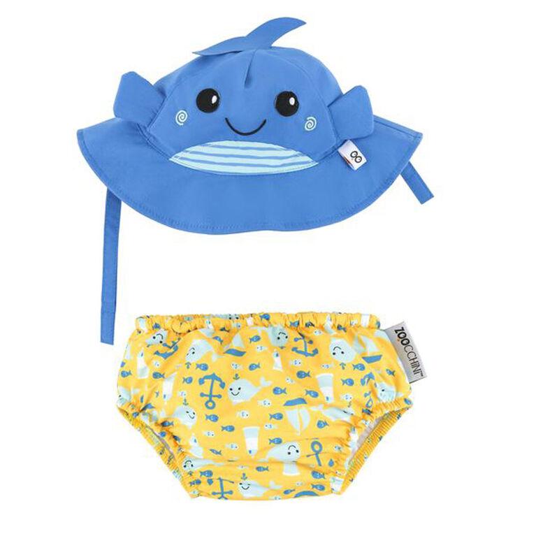 Zoocchini - Ensemble de couches et de bonnets de bain - Baleine - Petit