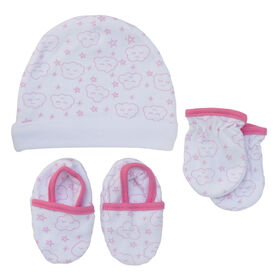 Koala Baby Hat, Mittens And Booties - Pink Clouds , size 3-6 months