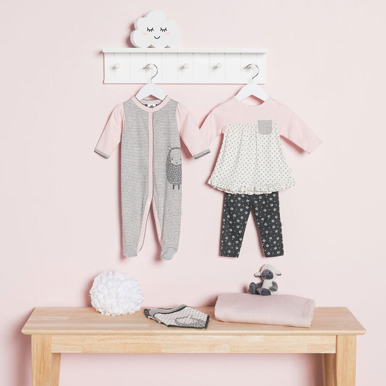 Just Born Baby Girls' 2-Piece Organic Tunic and Pant Set - Lil' Lamb 3-6 months