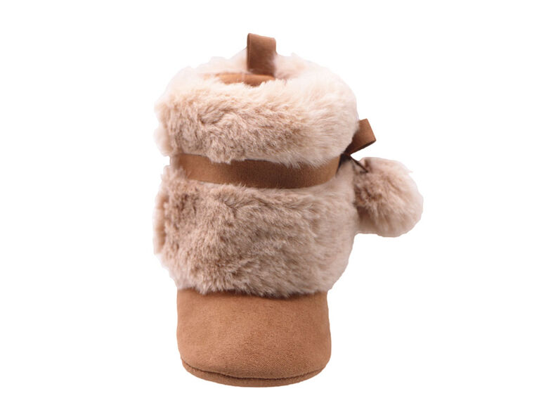 First Steps Chestnut Microsuede Pom Faux Fur Booties Size 2, 3-6 months