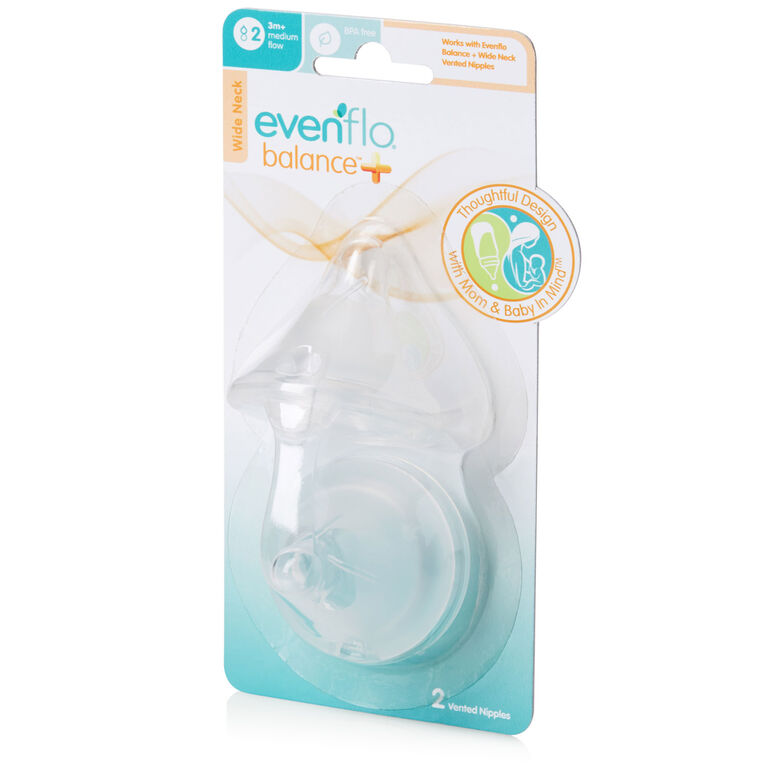 Evenflo Balance + Wide Neck BPA-Free Silicone Medium Flow Nipples 2-Pack - 3 Months+