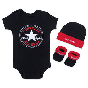 Converse 3-Piece Creeper Set - Black, 0/6 Months