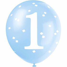 "Blue Gingham 1st Bday 12"" Ltx Balloons 5 pieces"