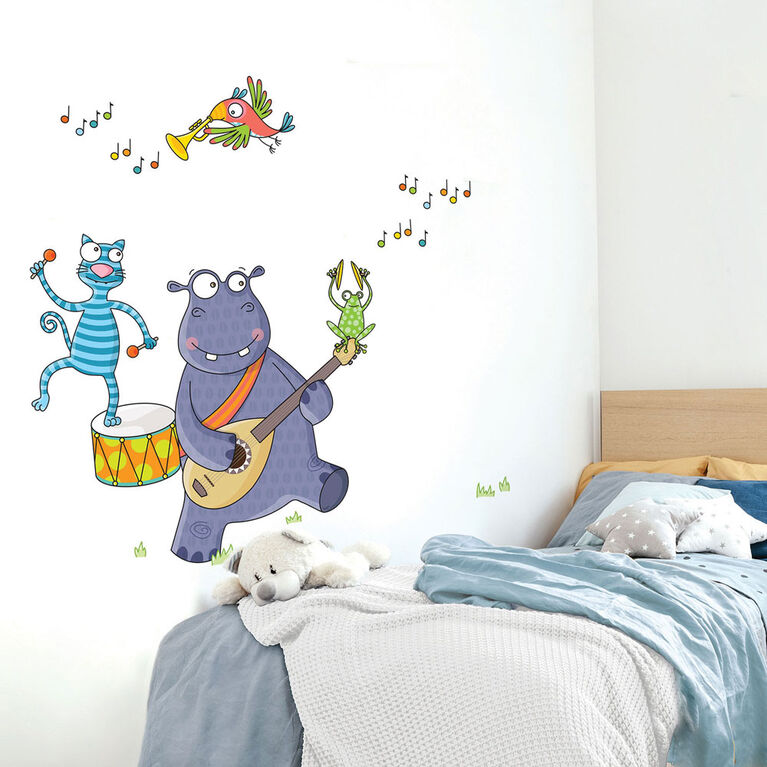 Wall Stories Kids Wall Stickers - Discover Music - Interactive Animal Wall Stickers for Kids Bedrooms - Large Peel and Stick Wall Decals with Free Play and Activity App