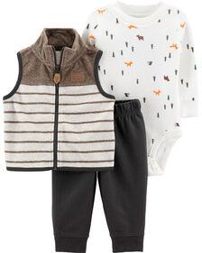 Carter's 3-Piece Camping Vest Set - Grey, 12 Months