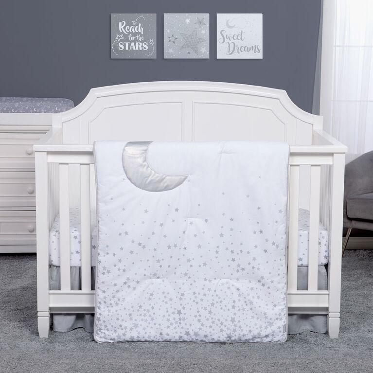 Sprinkle Stars and Moon 3 Piece Crib Bedding