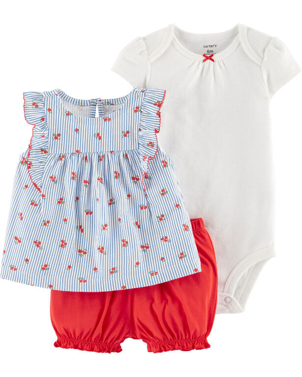 Carter's 3-Piece Floral Diaper Cover Set - Blue/Ivory/Red, 9 Months