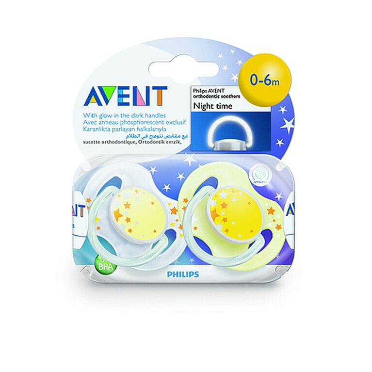 Suces nocturnes Philips AVENT, sans BPA, 0 à 6mois, jaune-blanc, paquet de2.